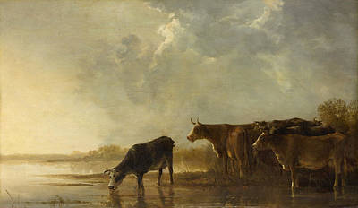 Riverside Painting - River Landscape With Cows by Aelbert Cuyp