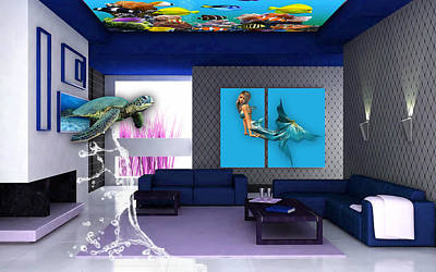 Rooftop Saltwater Fish Tank Art Art Print by Marvin Blaine