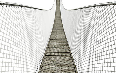 Rope Bridge On White Print by Allan Swart