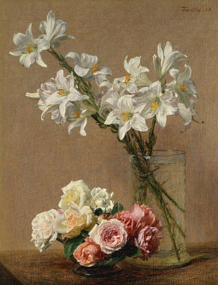 Painting - Roses And Lilies by Henri Fantin-Latou