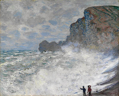 Seascape. Winter Painting - Rough Weather At Etretat by Claude Monet