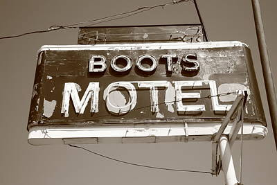 Route 66 - Boots Motel Print by Frank Romeo