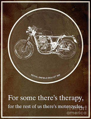 Royal Enfield Bullet 500 And Motorcycle Quote Art Print by Pablo Franchi