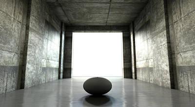 Stadium Digital Art - Rugby Ball Sports Stadium Tunnel by Allan Swart