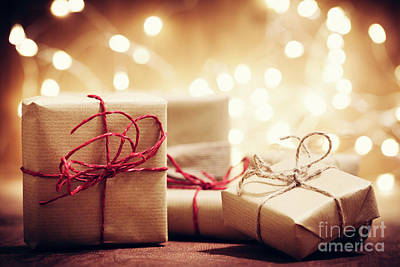 Photograph - Rustic Retro Gifts, Present Boxes On Glitter Background. Christmas Time by Michal Bednarek