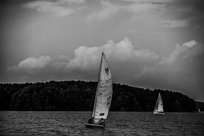 Lake Keowee Photograph - Sail Boat On Large Lake by Alex Grichenko