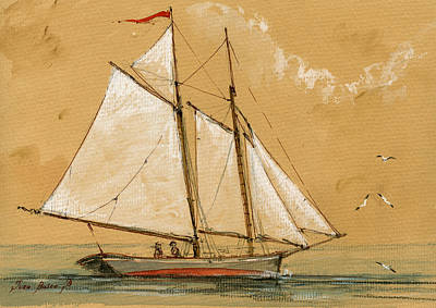 Sail Ship Watercolor Original by Juan  Bosco