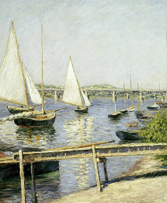 Bridge Painting - Sailing Boats At Argenteuil by Gustave Caillebotte