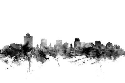Utah Digital Art - Salt Lake City Skyline by Michael Tompsett