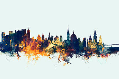 Michael Digital Art - Salzburg Austria Skyline by Michael Tompsett