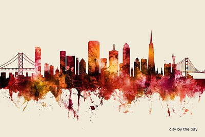 Digital Art - San Francisco California Skyline by Michael Tompsett