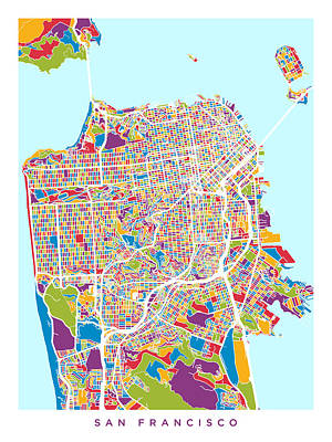 San Francisco Digital Art - San Francisco City Street Map by Michael Tompsett