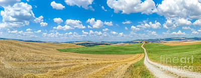 Italian Photograph - Scenic Tuscany Landscape With Rolling Hills In Val D'orcia, Ital by JR Photography