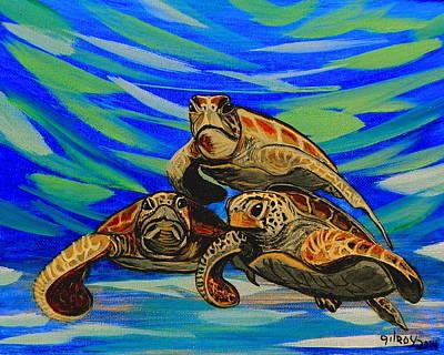 Ocean Turtle Painting - Sea Turtles by W Gilroy