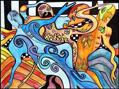 Figures Drawing - 4 Seasons by Laura Barbosa
