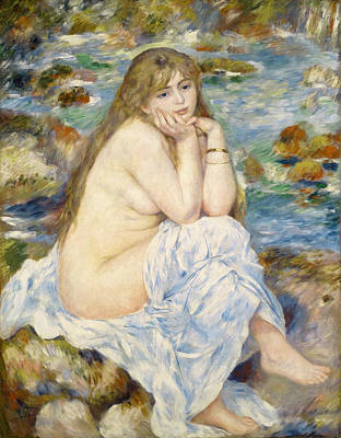 Outdoor Nude Painting - Seated Bather by Pierre-Auguste Renoir