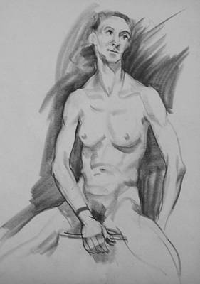 Drawing - Nude Seated With Spraddled Legs, Looking Left by Robert Holden