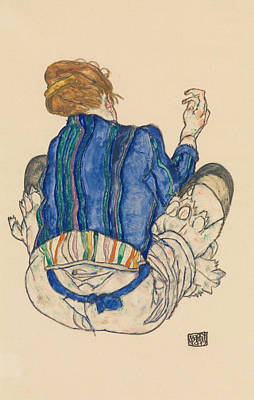 Drawing - Seated Woman, Back View by Egon Schiele