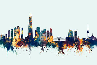 South Korea Digital Art - Seoul Skyline South Korea by Michael Tompsett