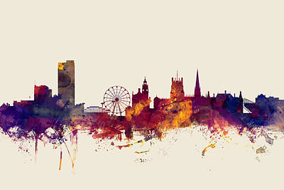 Great Britain Digital Art - Sheffield England Skyline by Michael Tompsett