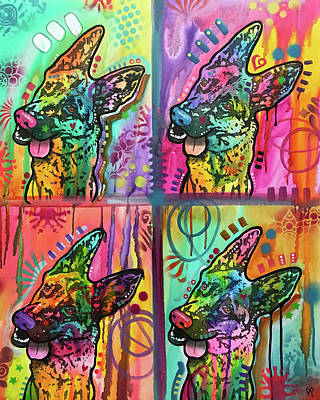 German Shepherd Wall Art - Painting - 4 Shepherds by Dean Russo Art