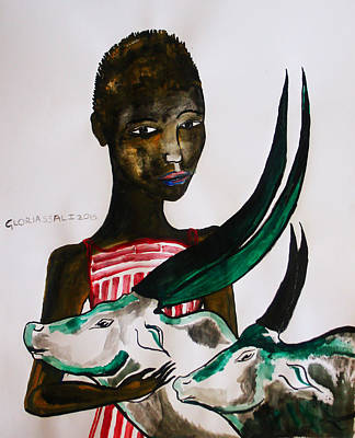 Dinka Painting - Shilluk Bride - South Sudan by Gloria Ssali