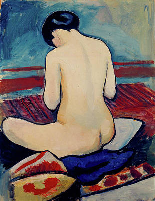Rider Painting - Sitting Nude With Pillow by August Macke