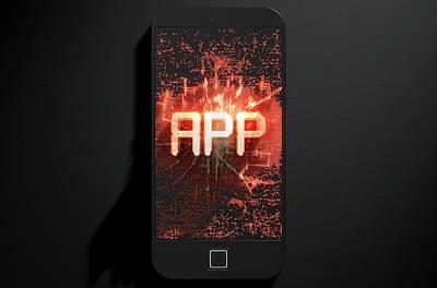 Smart Phone Emanating App Print by Allan Swart