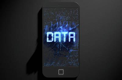 Smart Phone Emanating Data Art Print
