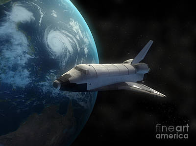 Digital Art - Space Shuttle Backdropped Against Earth by Carbon Lotus