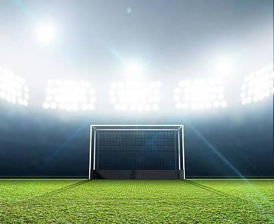 Turf Digital Art - Sports Stadium And Hockey Goals by Allan Swart