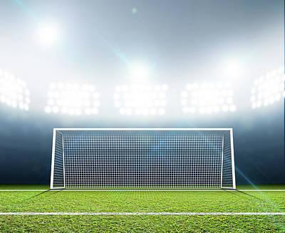 Turf Digital Art - Sports Stadium And Soccer Goals by Allan Swart