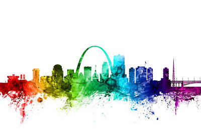 Rainbow Digital Art - St Louis Missouri Skyline by Michael Tompsett