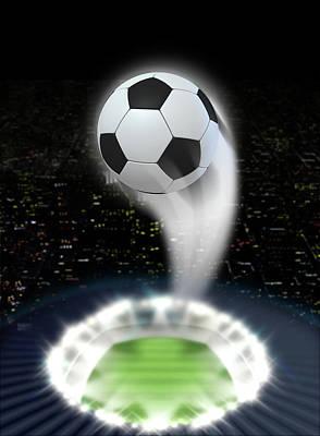 Stadium Night With Ball Swoosh Art Print