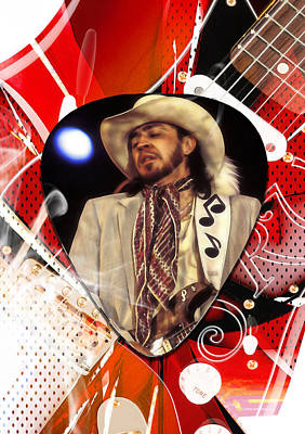 Music Mixed Media - Stevie Ray Vaughan Art by Marvin Blaine