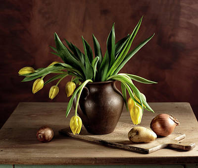 Potato Photograph - Still Life With Tulips by Nailia Schwarz