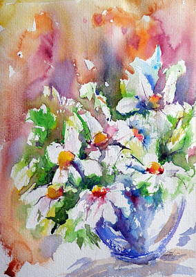 White Flowers Painting - Still Life With White Flowers by Kovacs Anna Brigitta