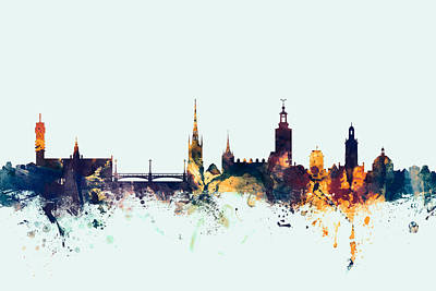 Sweden Digital Art - Stockholm Sweden Skyline by Michael Tompsett
