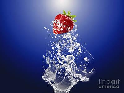 Strawberry Mixed Media - Strawberry Splash by Marvin Blaine