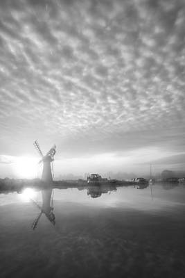 Architcture Photograph - Stunnnig Landscape Of Windmill And River At Dawn In Black And Wh by Matthew Gibson