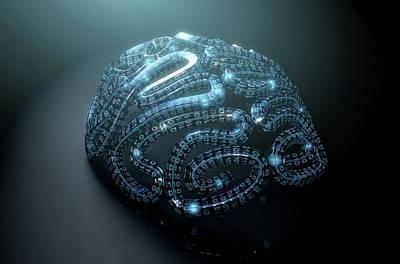 Stylized Artificial Intelligence Brain Art Print