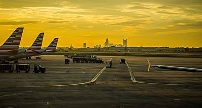 Clt Photograph - Sun Rising Early Morning Over Charlotte Skyline Seen From Clt Ai by Alex Grichenko