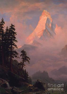 Snow Scene Landscape Painting - Sunrise On The Matterhorn by Albert Bierstadt