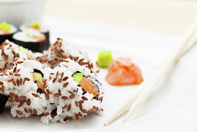 Meal Photograph - Sushi With Salmon, Avocado, Rice In Seaweed Served With Wasabi And Ginger by Michal Bednarek