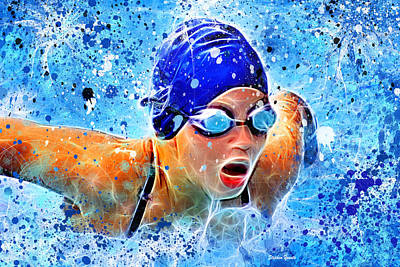 Aquatic Digital Art - Swimmer by Stephen Younts