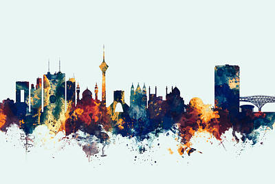 Digital Art - Tehran Iran Skyline by Michael Tompsett