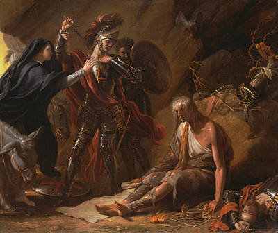 Woman Cave Painting - The Cave Of Despair by Benjamin West