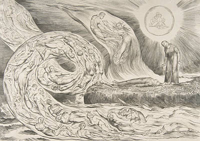 Relief - The Circle Of The Lustful, Paolo And Francesca by William Blake