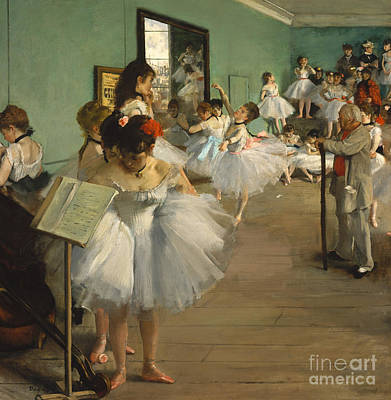 Backstage Painting - The Dance Class by Edgar Degas