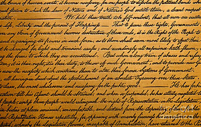July Fourth Drawing - The Declaration Of Independence  by American School